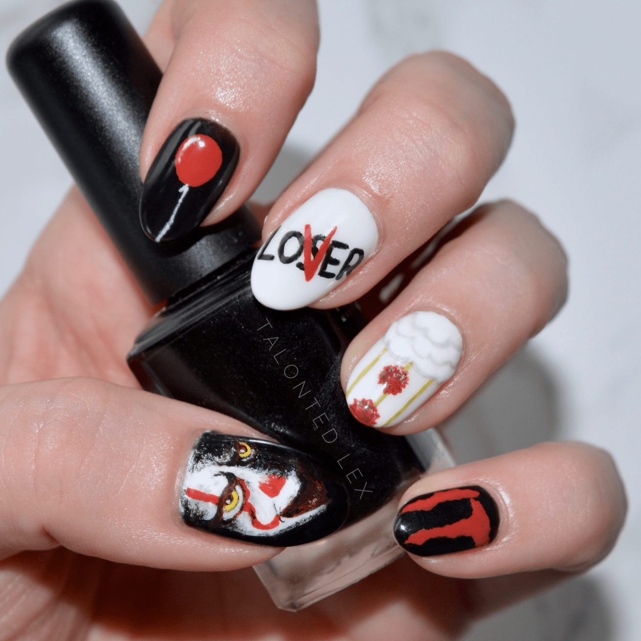 It nail art - hand painted nail art inspired by the new film, 'It'. Pennywise, Stephen King, manicure by Talonted Lex.