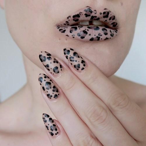 Leopard print nail art/lip art - #TalontedLipsAndTips