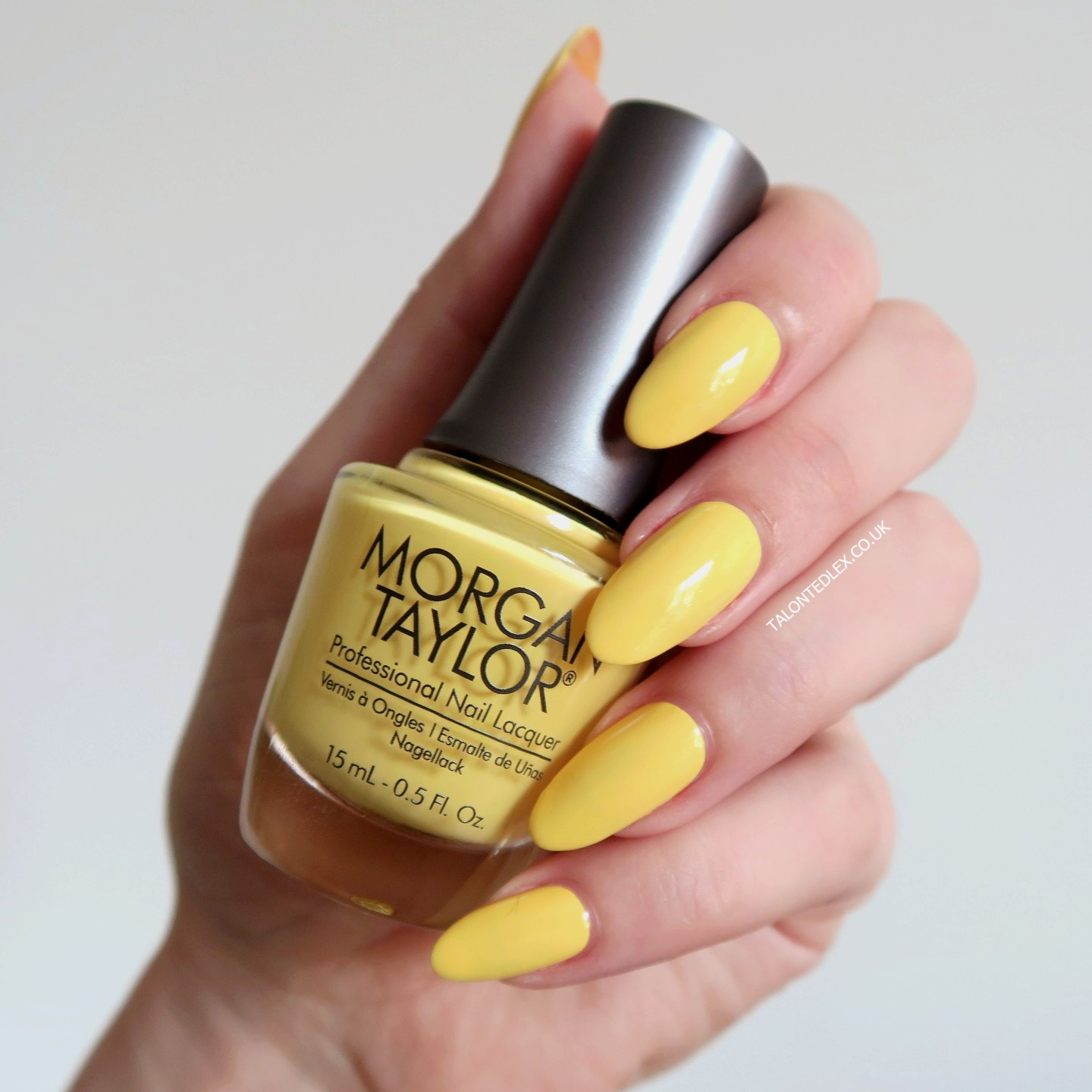 Repin and click to see the full Morgan Taylor Rocketman collection, including 'Glow Like A Star' - a light yellow creme polish. New Morgan Taylor nail polish range. #talontedlex #morgantaylor #yellownails