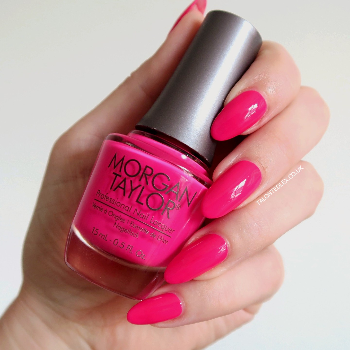 Repin and click to see the full Morgan Taylor Rocketman collection, including 'It's The Shades' - a bright pink neon polish. New Morgan Taylor nail polish range. #talontedlex #morgantaylor #pinknails