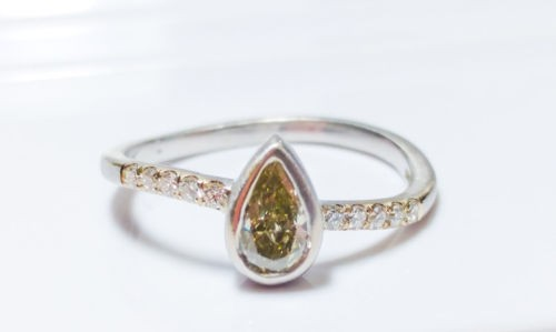 0.45ct Fancy Yellow Green Diamond Engagement Ring G VS1 18K VS2 All Natural