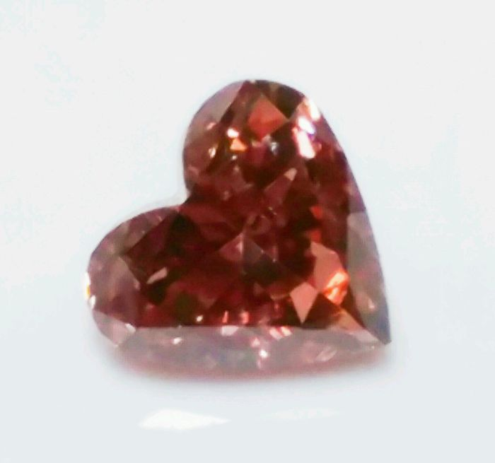 Pink Diamond - 0.19ct Natural Loose Fancy Deep Orangy Pink GIA Cert Heart SI1