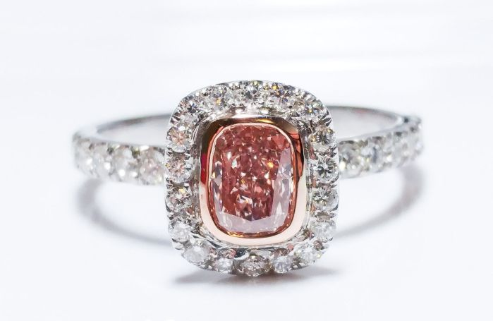 1.00ct Natural Fancy Orangy Pink Diamond Platinum Engagement Ring GIA Cushion SI