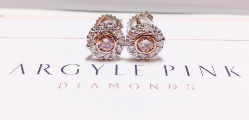 1.04ct Natural ARGYLE Fancy Pink Diamonds Earrings Rounds GIA 18K White Gold SI1