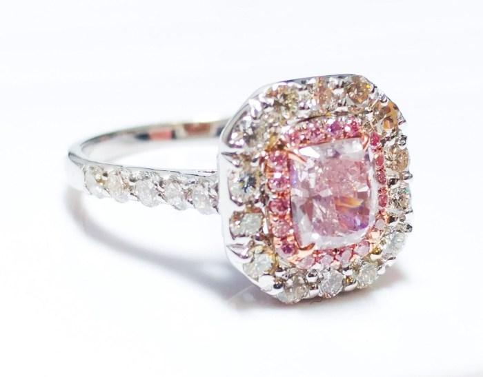 1.65 CT Fancy Pink Diamond Engagement Ring GIA Cushion Hallo 18K White Gold SI1