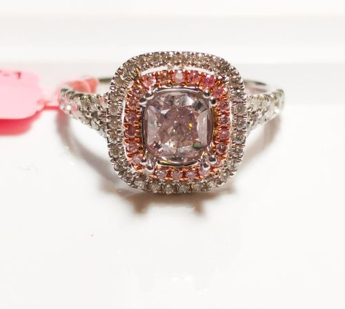 1.10ct Fancy Light & Intense Pink Diamond Engagement Ring GIA 18K White Gold SI2