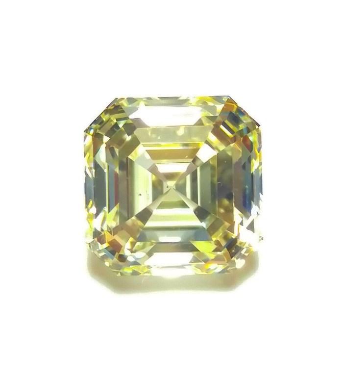 Yellow Diamond - VS1 2.02ct Natural Loose Fancy Light Yellow Asscher Cut Emerald
