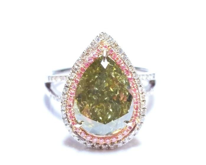 Engagement Ring 5.90ct Natural Fancy Intense Pink Green Chameleon GIA 18K Gold