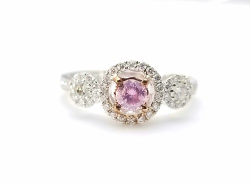 1.03ct Fancy Pink Diamond Engagement Ring GIA Round Hallo 18K White Gold SI1