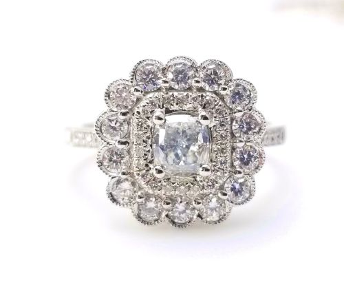 1.03ct Faint Blue Diamond Engagement Ring GIA Cushion Hallo 18K White Gold VS1