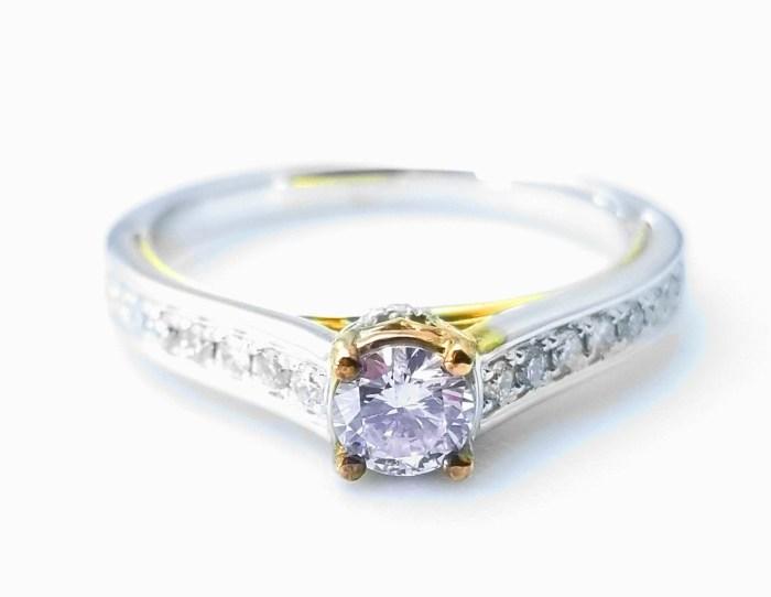 0.51ct Natural Fancy Light Pink Diamond ARGYLE Engagement Ring Round 18K VS