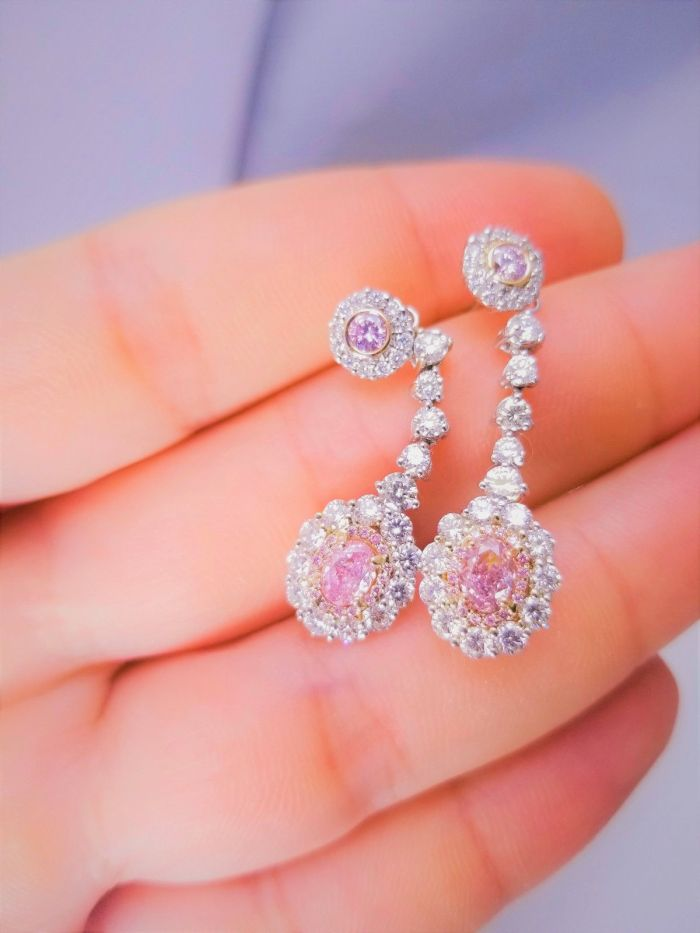 3.24ct Natural ARGYLE Fancy Pink Diamonds Earrings All GIA 18K White Gold VS-SI