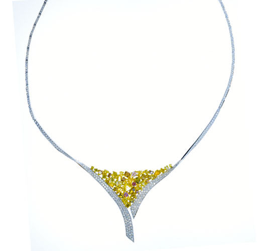 9.44ct Fancy Pink & Yellow Diamonds Necklace 18K All Natural 26 Grams Real Gold