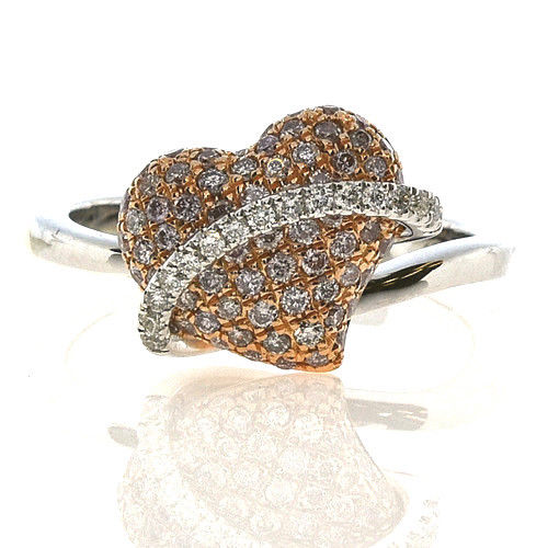 Real 0.66ct Natural Fancy Pink Diamonds Engagement Ring 18K Solid Gold 5G Heart