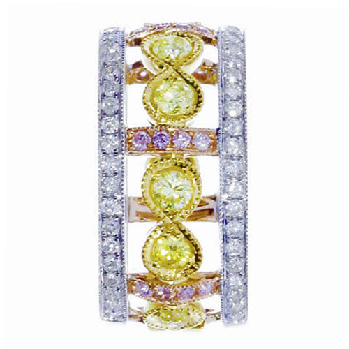 Real 1.17ct Natural Fancy Yellow Diamonds Engagement Ring 18K Solid Gold 6G