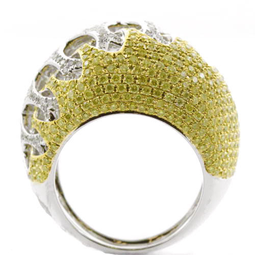 Real 3.03ct Natural Fancy Yellow Diamonds Engagement Ring 18K Solid Gold 12G