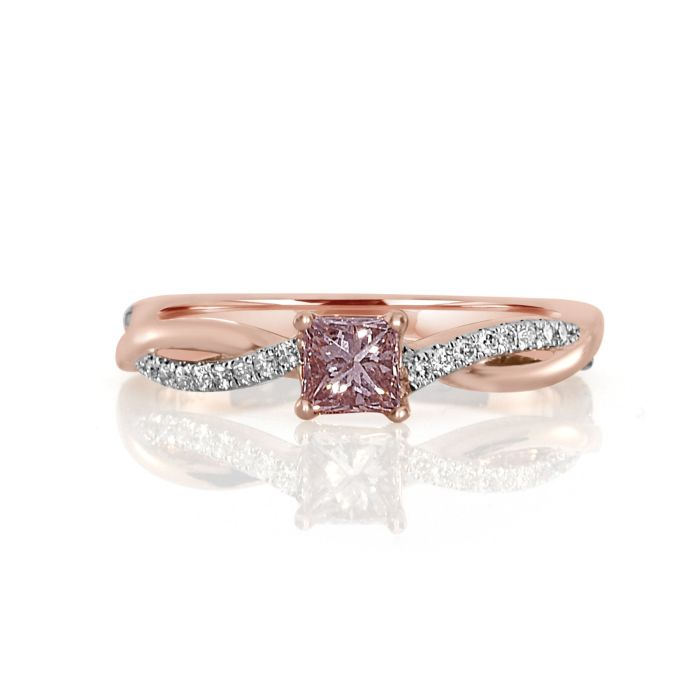 Real 0.57ct Natural Fancy Pink Diamond Engagement Ring 18K Solid Gold Princess