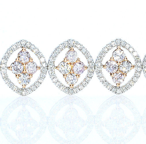ARGYLE Pink Diamonds - Bracelet 9.36ct Natural Fancy Pink 18K 26 Grams Mix Color