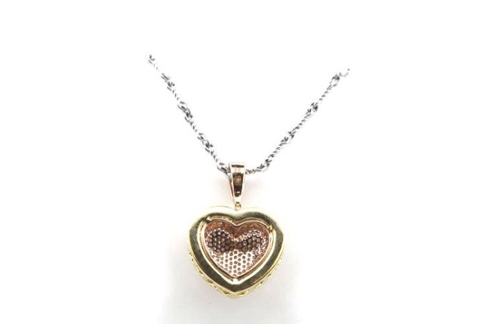 Real 0.73ct Natural Fancy Pink Diamonds Heart Pendant Necklace 18K Rose Gold 4G