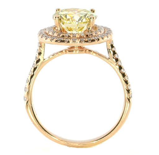 Real 2.51ct Natural Fancy Yellow Diamonds Engagement Ring 18K Solid Gold Round
