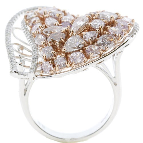 Real 4.00ct Natural Fancy Pink Diamonds Engagement Ring 18K Solid Gold 12G
