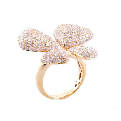 Real 4.28ct Natural Fancy Pink Diamonds Engagement Ring 18K Solid Gold Butterfly