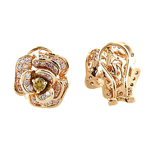 Real Fine 1.28ct Fancy Pink Diamonds Earrings 18K All Natural Stud Flowers Gold