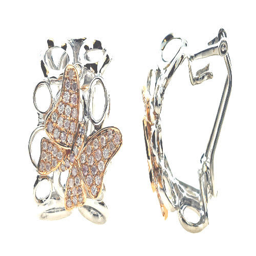 0.67ct Fancy Pink Diamonds Earrings 18K All Natural 10 Grams Real Gold Butterfly