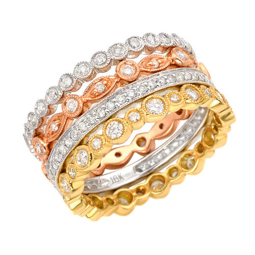 1.62ct Natural Multi Tone Diamonds Engagement Ring 18K Solid Gold 8G Rounds