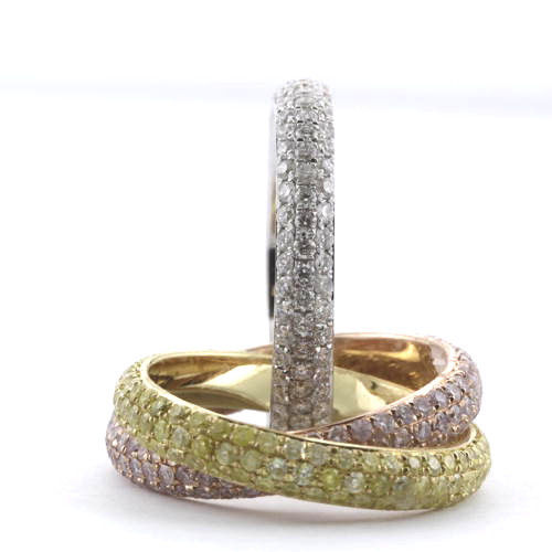 4.35ct Natural Fancy Pink Diamonds Engagement Ring 18K Solid Gold 7G three Rings