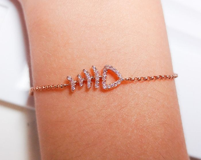 ARGYLE Pink Diamonds - Animals Bracelet 0.10ct Natural Fancy Pink Fish Bone 18K