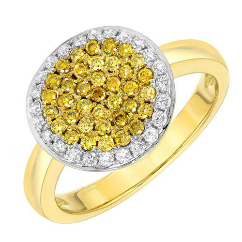 Real 0.56ct Natural Fancy Intense Yellow Diamonds Engagement Ring 18K Solid Gold
