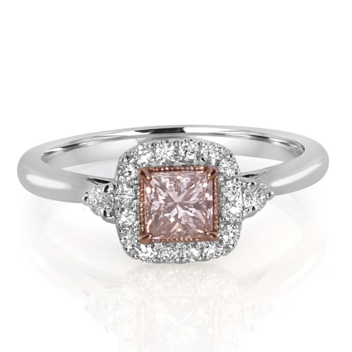 Real 0.63ct Natural Fancy Pink Diamonds Engagement Ring 18K Solid Gold Princess