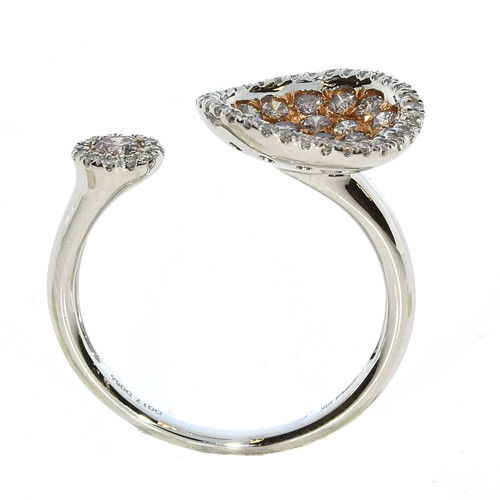 Real 0.75ct Natural Fancy Pink Diamonds Engagement Ring 18K Solid Gold 4G