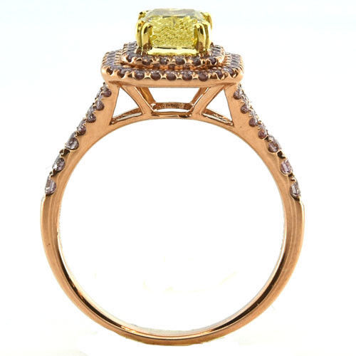 Real 1.54ct Natural Fancy Deep Yellow Diamonds Engagement Ring 18K Solid Gold