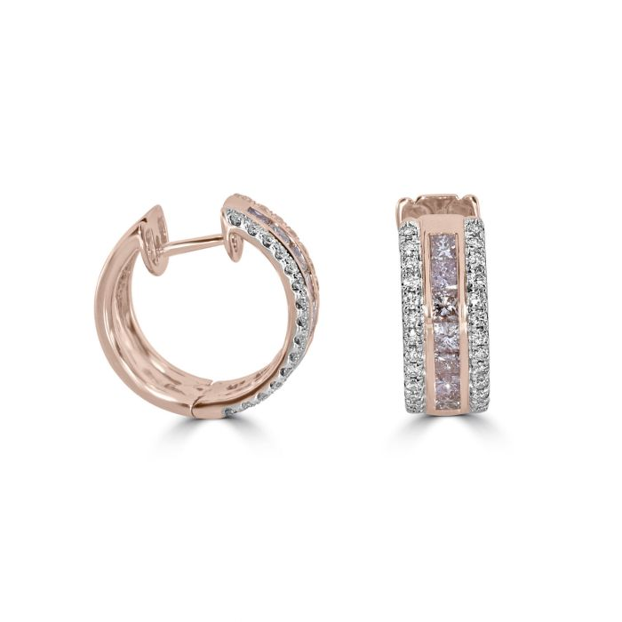 Real Fine 2.20ct Fancy Pink Diamonds Earrings 18K All Natural 9 Grams Rose Gold