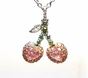 fancy pink diamond heart pendant