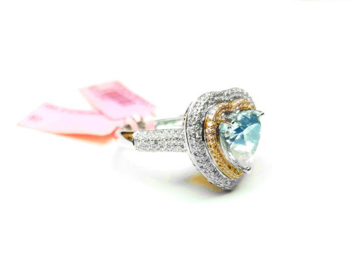 Heart 4.34ct Natural Faint Light Blue & Pink Diamonds Engagement Ring GIA 18K