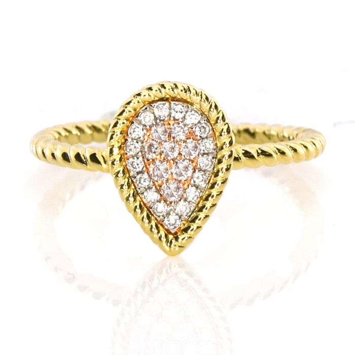 Real 0.16ct Natural Pink Purple Color Diamond Engagement Ring Pear 18K VS-SI