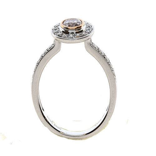 0.85ct Natural Fancy Pink Diamonds Engagement Ring 18K Solid Gold 4G Rounds