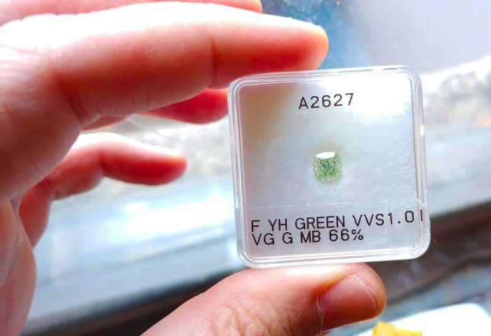 Green Diamind - Real 1.01ct Natural Loose Fancy Green VVS1 Diamond GIA Cushion