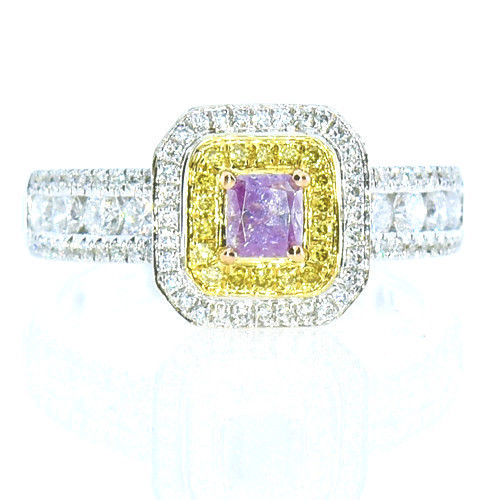 Real 1.06ct Natural Fancy Pink & Yellow Diamonds Engagement Ring 18K Solid Gold