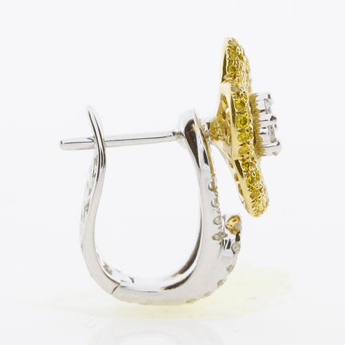 1.32ct Fancy Yellow Diamonds Earrings 18K All Natural 7 Grams Real Gold