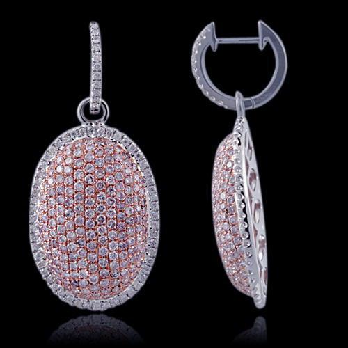 2.70ct Fancy Intense Pink Diamonds Earrings 18K All Natural 10.7 Grams W Gold
