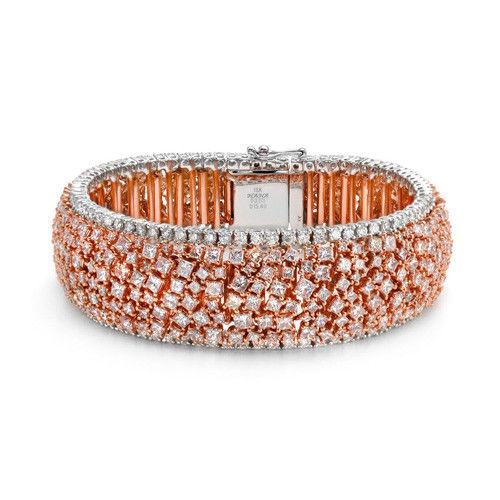 Pink Diamonds - Bracelet 21.23ct Natural Fancy Pink Color 18K 53 Grams Princess