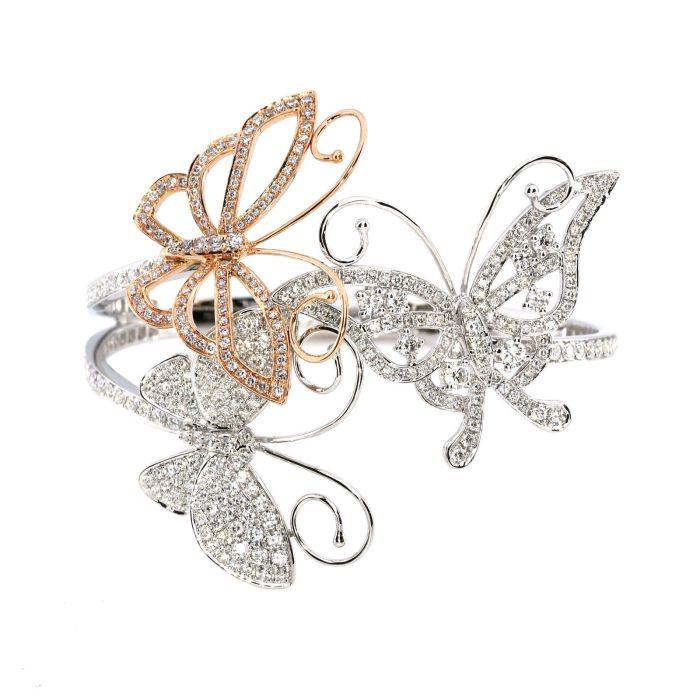 Real 4.88ct Natural Fancy Pink Diamonds Bracelet Bangle 18K Solid Gold Butterfly