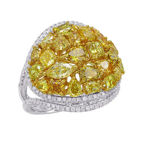 Real 3.83ct Natural Fancy Yellow Diamonds Engagement Ring 18K Solid Gold Brown