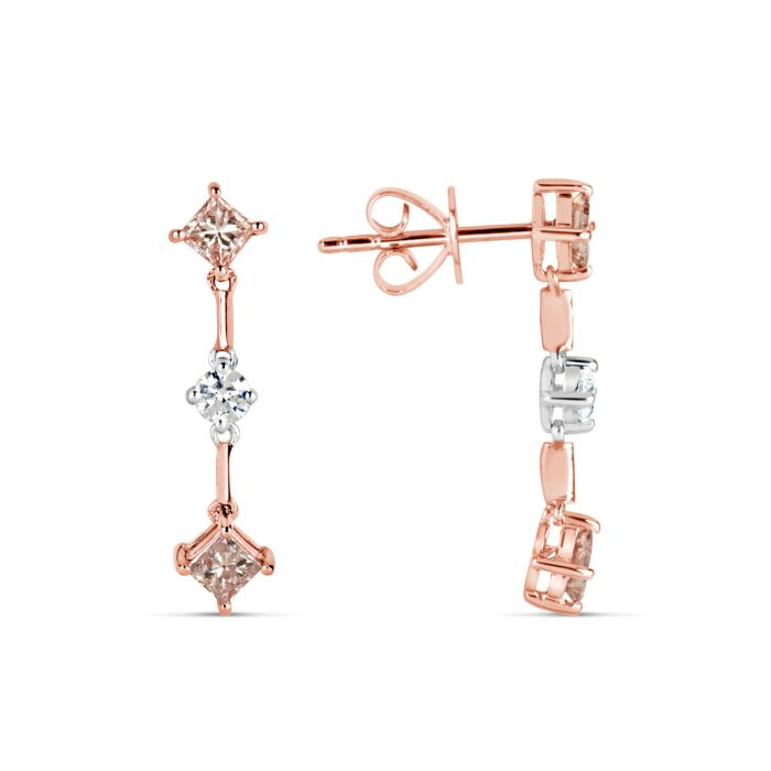 Real Fine 0.85ct Fancy Pink Diamonds Earrings 18K All Natural 2 Grams Rose Gold
