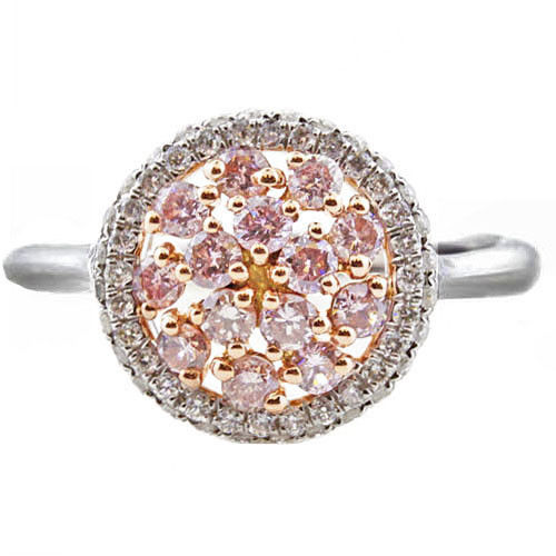1.05ct Natural Fancy Pink Diamonds Engagement Ring 18K Solid Gold 4.4G Mix