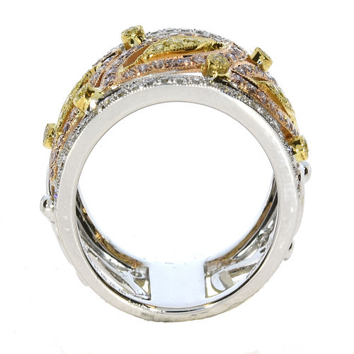 1.12ct Natural Fancy Pink & Yellow Diamonds Engagement Ring 18K Solid Gold 9G